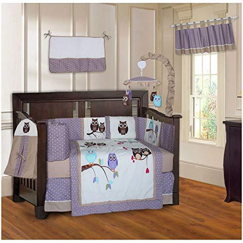 BabyFad Owl Purple 10 Piece Baby Crib Bedding -