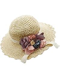 1e473ef52ac4f Girl Kids Summer Wide Brim Floppy Beach Sun Visor Hat with Flowers