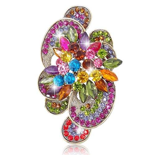 EVER FAITH Austrian Crystal Flower Marquise Shape Brooch Gold-Tone Multicolor