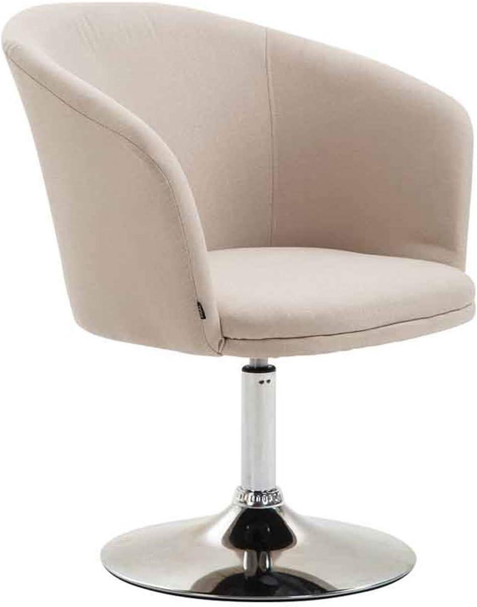 Seduta 43 cm Crema Poltrona Bar Sofa Ufficio Girevole Sedia Loft Imbottita con Braccioli CLP Poltroncina Lounge Arcade Girevole in Tessuto