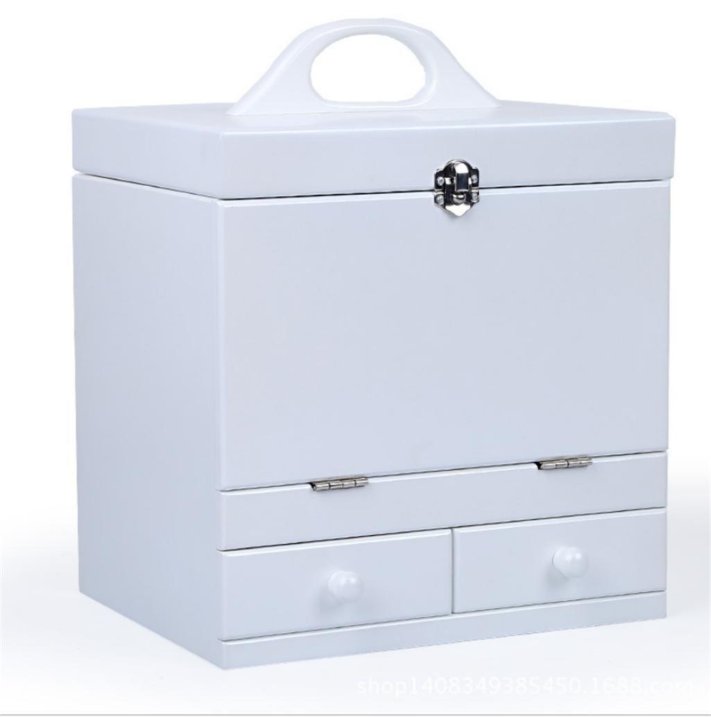 GFYWZ Woody Grande caso Retro principessa Cosmetici finitura estetica Storage Box con uno specchio 26.5 * 21 * 32,5 centimetri , white wexe.com