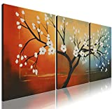"Ode-Rin Art - 100% Hand Painted Large White Bloom Flowers 5 Pieces Wall Art Magnolia Denudata Floral Framed Oil Painting for Living Room Home Decor, Ready to Hang - (24""x28"" x 3 Panels)"