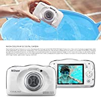 Nikon COOLPIX W100 Digital Camera (White) Basic Bundle with Floating Strap + 16 GB +Tripod + SD/SDHC Reader + Battery + Case + FiberTiqueCleaning Cloth by Photo Savings