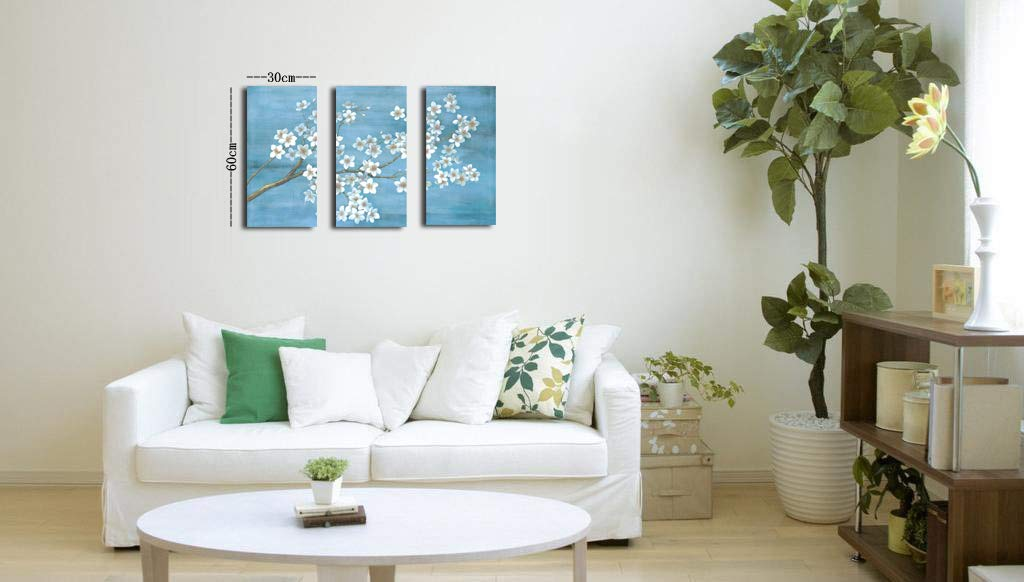 Yang Hong Yu – 3D Plum Blossom Painting Blue Background Flower Oil Painting Wall Art Stretched Canvas Artwork for Home Decorations