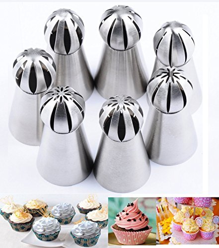 Russian Piping Tips 17pcs/set, KOOTIPS 7pcs/set Sphere Ball Tips Russian Icing Piping Nozzles with 10pcs Pastry Icing Bags Fondant