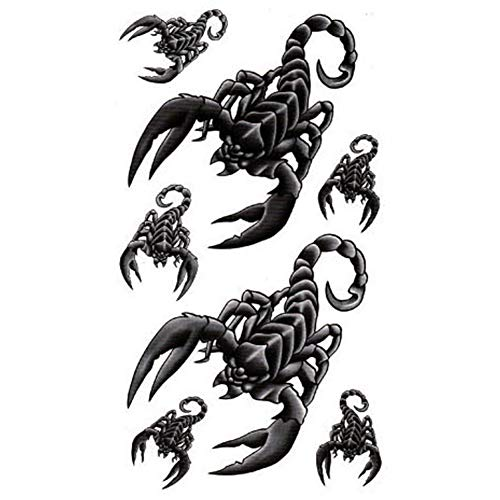 TAFLY Scorpion King Temporary Tattoo Body Art Tattoo Sticker Waterproof Fake Tattoo Long Lasting Look Real For Men 5 Sheets