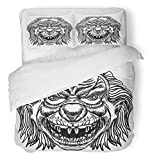 Emvency 3 Piece Duvet Cover Set Brushed Microfiber Fabric Breathable Evil Scary Clown Monster with Big Nose and Sharp Teeth Horror Cartoon White Bedding Set with 2 Pillow Covers Twin Size