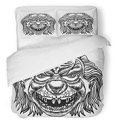 Emvency 3 Piece Duvet Cover Set Brushed Microfiber Fabric Breathable Evil Scary Clown Monster with Big Nose and Sharp Teeth Horror Cartoon White Bedding Set with 2 Pillow Covers Twin Size by Emvency