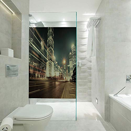 - Non Adhesive Frosted Window Film Glass Stickers,Shanghai Lujiazui Finance and Trade Zone of the Modern City Nighttime View,Customizable size,Suitable for bathroom,door,glass etc,Bronze Black White