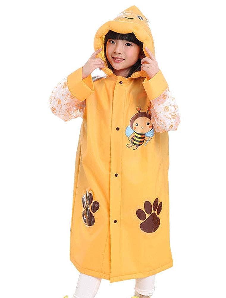 ARAUS Cappotto Impermeabile da Bambini Proteggere Lo Zaino Poncho Antipioggia in PVC con Cappuccio Gonfiabile