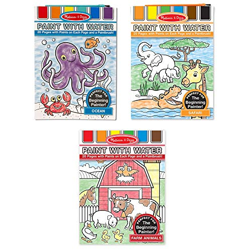 "(Melissa & Doug Paint with Water Activity Books Set 3-Pack; Arts & Crafts; Easy to Use; Farm, Ocean, Safari; 20 Painting Pages in Each; 11.2"" H x 8.25"" W x 0.15"" L)"