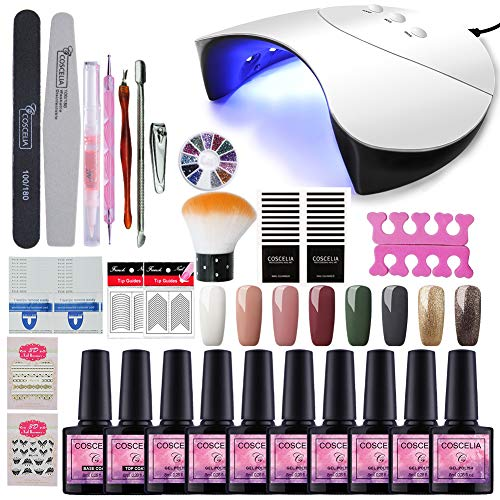 Fashion Zone 36W LED Nail Dryer Base Coat Top Coat Gel Nail Polish Starter Kit 10 Colors Gel Polish+ Home Gel Manicure Tools Nail Art Designs