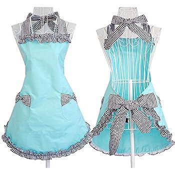 JIURUN Plus Size Lovely Princess Cotton Apron With 2 Pocket for Women (Black)