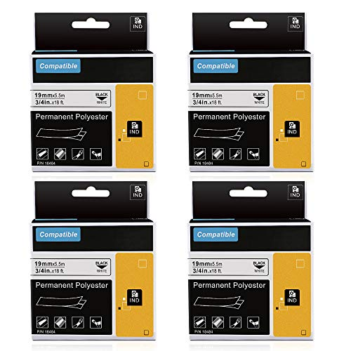 Replace Industrial Dymo Rhino 18484 Permanent Vinyl 3/4 Inch Labels Tape, Compatible for DYMO Rhino 4200,5000,5200,6000, RhinoPro Label Maker, Industrial LabelWriter, Black on White, 18Feet, - 5000 Maker Label Rhinopro Industrial