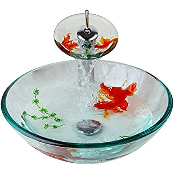 Tempered Glass Vessel Sink Bathroom Fish Painting With