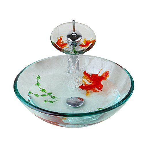 l Sink Bathroom Fish Painting With Drain Vanity Basin Bowl Mixer Faucet Set (Bathroom Vanity Tempered Glass Vessel)