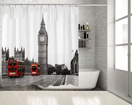 Positive Home Palace of Westminster Big Ben View from South Bank London Red Double Decker Buses on the Bridge Black and White View Shower Curtain 70
