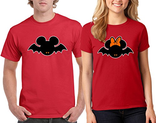 CAMALEN Minnie & Mickey Bat Halloween Costumes Couple DesignT-Shirt Popular Tee Shirt 1(Red-Red,Men-S/Women-S) -