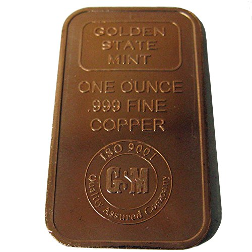 Bullion Bar Silver - Two One Ounce Pure .999 Copper Bullion Bars by the Golden State Mint In a Custom Microfiber Pouch by Vx Investments