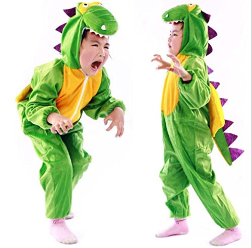 Children Party Costume Cartoon t-rex Costume Funny Clothes Performance Kids Dinosaur Cosplay Costume (L(Height 41.3