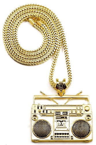 GWOOD Boom Box Gold Color Pendant with 36 Inch Franco Necklace Cassette
