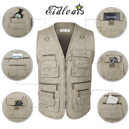 Eidlvais Men's Multi-Pockets Vest For Outdoors Travels Sports Khaki Size XL by Eidlvais (Image #5)