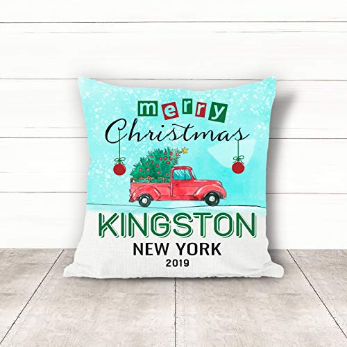 Christmas Pillow Covers 18 x 18 Inches Merry Christmas 2019 Kingston New York NY Pillow Decorations for Xmas Autumn Pillow Covers Home Decor Design for Sofa Bedroom Car