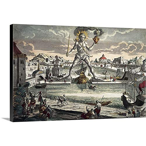 GREATBIGCANVAS Gallery-Wrapped Canvas Entitled Colossus of Rhodes. Seven Wonders of The World. 17-18th c. Engraving with Color by 18