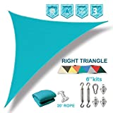 Coarbor 12'x12'x17' Right Triangle Sun Shade Sail Perfect for Patio Yard Deck Outdoor Garden with Hardware Kit UV Block Shade Cover Canopy-Turquoise Green