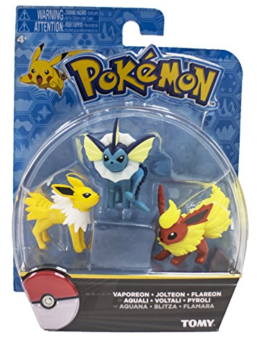 Exclusive Figure Set (Official Packaged Pokemon Eevee Eeveelutions 3 Pcs. Exclusive Figure Set Includes: Vaporeon , Jolteon & Flareon by Hot Topic)