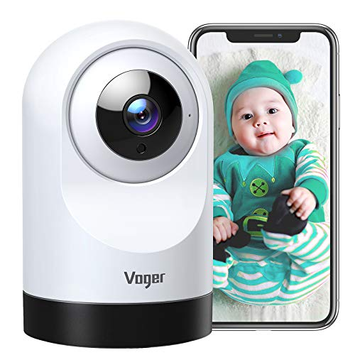 Voger Baby Monitor, 360-degree Wi-Fi Home Security Camera, PTZ Indoor Camera with 1080P IR Night Vision, Motion Tracking, 2-Way Audio, Compatible with Alexa