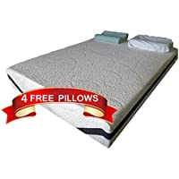 King Size 12 Inch Thick, 4 Pound Density Visco Elastic Memory Foam Mattress Bed With 4 FREE GEL Pillows - Made in the USA