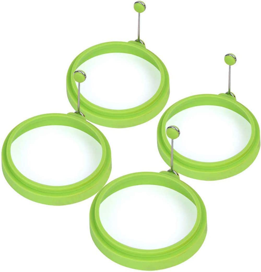 Emoly Silicone Egg Ring, 100% Food Grade Egg Cooking Rings, Egg Rings Non Stick, Egg Cooking Rings, Perfect Fried Egg Mold or Pancake Rings (New, 4pcs, Green)