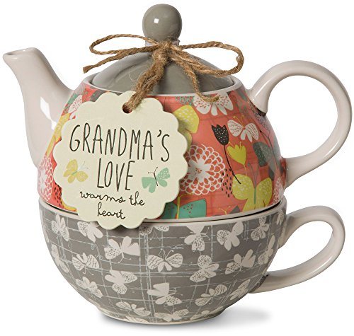 Grandma's Love Warms the Heart Teapot Set for 1