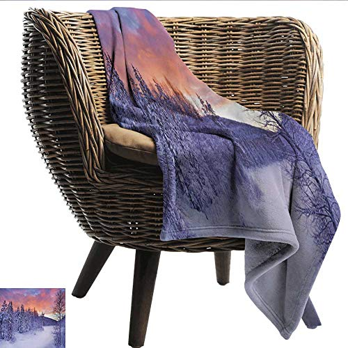 EwaskyOnline Winter Flannel Blanket Frozen River in a Wintry Landscape Finnish Lapland at Sunrise Arctic Nordic Country Blanket on Bed Sofa Bedding 40