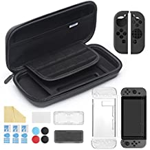 iAmer 11 in 1 Starter Kits for Nintendo Switch, Nintendo Switch Carrying Case+Transparent Switch Cover+3 Switch Screen Protector+Silicone Joy-Con Gel Guards+Thumb Grips Caps+ Game Card Case+Screen Wipe