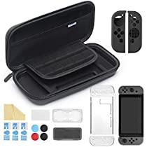 iAmer 11 in 1 Starter Kits for Nintendo Switch, Nintendo Switch Carrying Case+Transparent Switch Cover+3 Switch Screen Protector+Silicone Joy-Con Gel Guards+Thumb Grips Caps+ Game Card Case+ScreenWipe