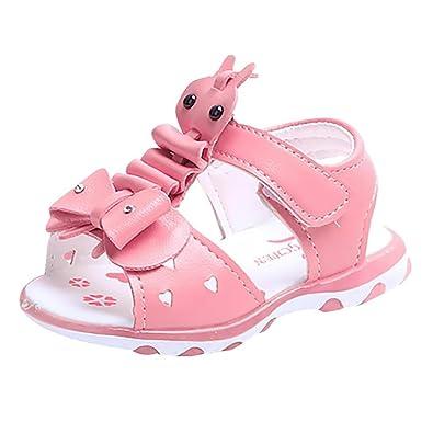 b21ee30700080b Baby Mädchen Babyschuhe Offene Sandalen LED Leucht Schuhe Weiche Kleinkind  Schuhe mit Klettverschluss Freizeit PU Anti