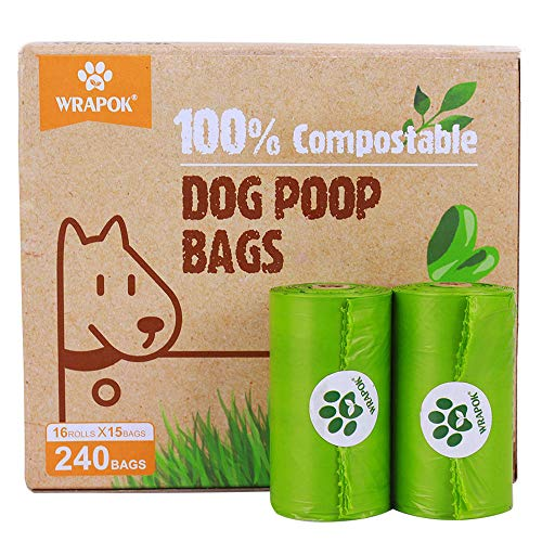 WRAPOK 100% Compostable Disposable Dog Poop Bags Large Leak Proof Biodegradable Waste Bag, Extra Thick 0.71 Mils, ASTM…