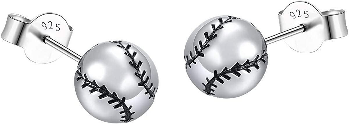 S925 Sterling Silver Basketball Baseball Pendant Necklace Earrings for Men Boy Women Girl