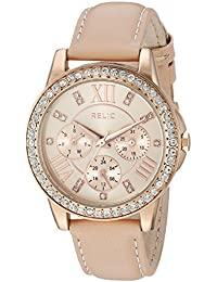 Women's 'Layla' Quartz Metal and Leather Casual Watch, Color:Beige (Model: ZR15907)