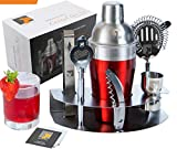 Image of Mix your drinks like a Pro with Eximius Power Cocktail Shaker Set | 7pc Bar tool accessories | Bartender Martini Drink Mixer, Jigger, Strainer, Tongs,Corkscrew,Opener, Storage Rack & Bonus Recipe Book