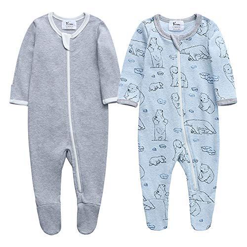 O2Baby Baby Boys Girls Organic Cotton Zip Front Sleeper Pajamas, Footed Sleep 'n Play