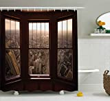 City Scene Shower Curtain Ambesonne Aerial Decor Shower Curtain by, Urban View from the Window View City Dusk Building North American Town Scene, Fabric Bathroom Decor Set with Hooks, 70 Inches, Brown Taupe