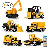 Gimilife Play Vehicles, 6 Set Toy Construction Vehicles, Assorted Trucks Mini Car Toy, Friction Powered Push & Play Engineering Vehicles Age 3 Years Up Boys Girls as Gift