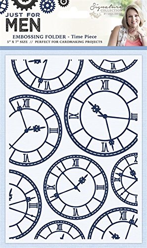 Sara Signature Time Piece Just for Men Embossing Folder, Blue, 5 x 7-Inch Crafter' s Companion S-MEN-EF5-TIME