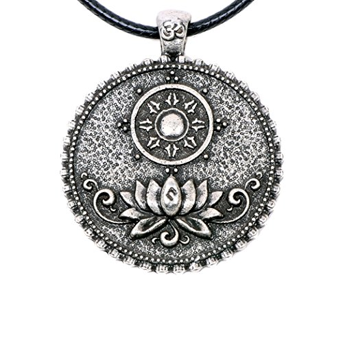 Paw Paw House Om Lotus Mandala Necklace Pendant Tibetan Buddhist Dharma Wheel Meditation Yoga Inspired Bohemian Boho Jewelry