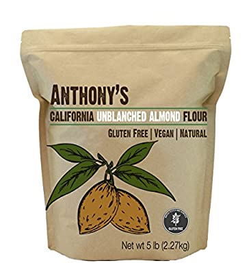 Almond Meal / Flour, Natural Unblanched by Anthony's, 5 Pounds (5lb), Batch Tested Gluten Free from Anthony's Goods