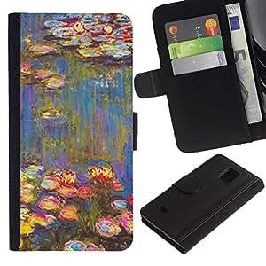 KingStore / Leather Etui en cuir / Samsung Galaxy S5 Mini, SM-G800 / Pintura Arte Flores Agua;