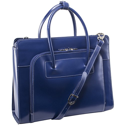 [McKlein LAKE FOREST Navy Leather Women's Case with Removable Sleeve (94337)] (Italian Leather Ladies Briefcases)